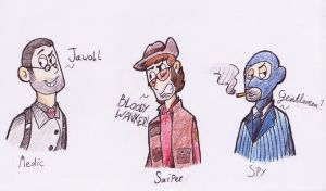 Tf2 Doodles: Medic, Sniper, Spy by KabouterPollewopje