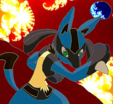 Lucario: Battle of fire by Magawolf