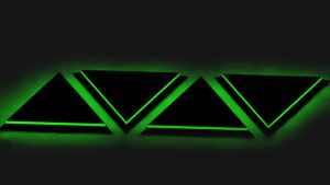 Black 3D Triangles glow green... by cytherina