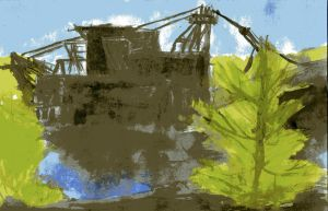 Dredge Day Abstract by Molonara