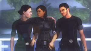 Happier times - Femshep, Ashley and Kaidan by ghenson