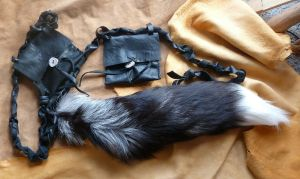 Custom silver fox belt pouch tail by lupagreenwolf
