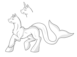 Free Shaded Original Merpony Lineart - Digital by Shadow-Bases