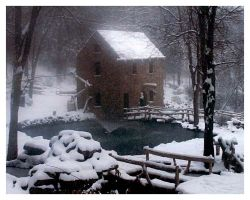 The Old Mill in Winter by mscheviousangel