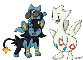 Togetic, Luxio and Riolu by boxor23