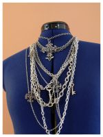 multi-chain junk necklace. by remy-lenour