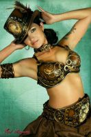 Steampunk Belt, bra and Hat by littledaisyhead
