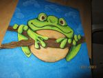 Green frog by Uffielle
