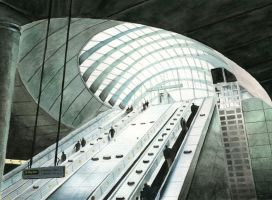 Canary Wharf Station, London by pepscee