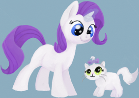 Filly Rarity and Kitten Opalescence by Hummoint