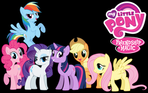 The Mane 6 Black MLP: FiM Wallpaper by bluedragon14