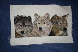 3 Wolves Cross Stitch by merrywether
