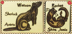 Woodburnings - Tribal Ferrets for Unknownartist-13 by Stepher17