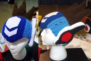 crochet Mega Man Star Force hat by BunnieBard