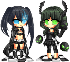 Pixel Black Rock Shooter and Dead Master by Chikukko