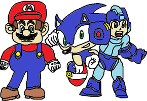 Mario, Sonic, and Megaman by tanlisette