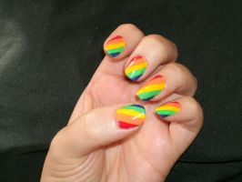 Rainbow Nails by Animalluver1985