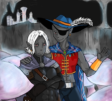 Dinin and Jarlaxle by OrangeLightning123