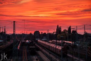 Sunset Cottbus Railway Station by jkoziol