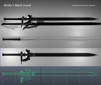 Sword art online - Kirito's black sword model by Ladusence