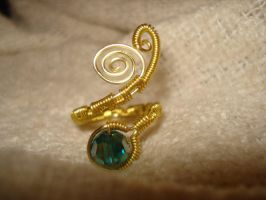 Gold Aquamarine Adjustable Ring by Toowired