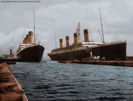RMS Olympic and RMS Titanic by hmhsbritannic
