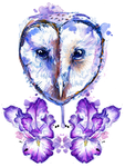 Owl and Irises by FinchFight