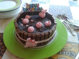Piglets in mud cake :3 by omygodlol