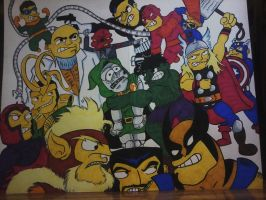Marvel Characters Simpsonized Commission by XxPohGoxX