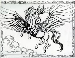Art Nouveau Pegasus by CozmicDreamer