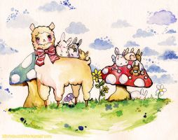 alpaca bunnies mushrooms i dont know by MiniMushroom
