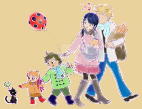 Ladybug and Cat Noir's Family by Cookiesnet