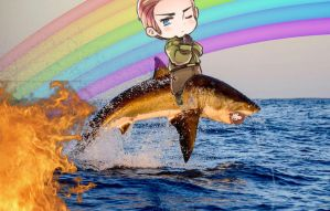 Luddie thoughtfully Riding A shark with explosions by 1stawesome