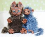 Fawn and monkey  art doll by iasio