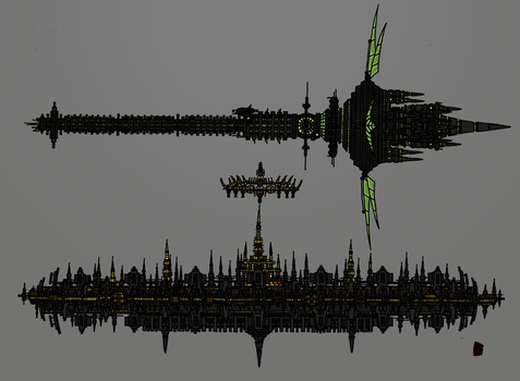 Megalopolis City Station and Vortex Ship by Athalai-Haust