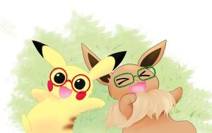 Pikachu and Eevee by treenew
