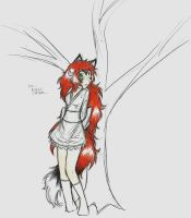 kitsune girl doodle by dragonartist22