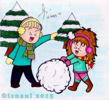 Dramione -- Snowfight by isnani