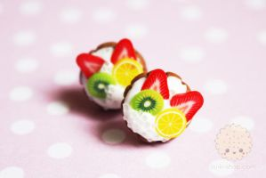 Fresh fruit studs polymer clay miniatures by kukishop