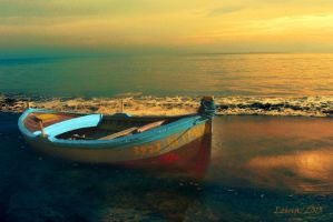 Boat under the sunset by Leina1