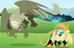:CE: Griffon Battle by NatuSoulSilver