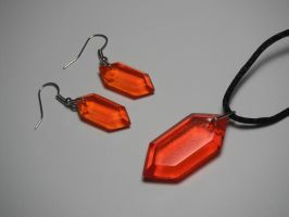 Rupee Earring and Pendant Set (orange) by ChinookCrafts