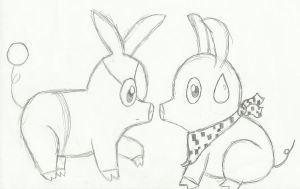 P-Chan meets Tepig Pencil by InuRanmaHalf