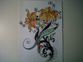 Art Nevou - Tiger Lilly and Tropical Gecko Tattoo by SpaceCowboy-D