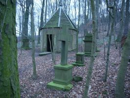 Graveyard in the forest 2 by Dragoroth-stock
