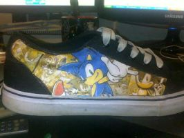 Sonic the hedgehog modge podge shoes by Dee9922