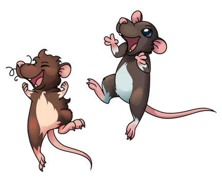 Jumping happy ratties (vector) by Bestary