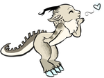 Cutesy Heart Blow Gecko ~ page doll by BambooGecko
