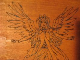 Belldandy Woodburning Close-up by artemis5096