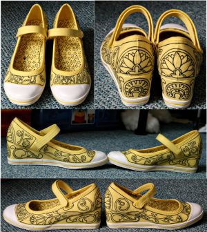 painted Art Nouveau shoes by Namsab